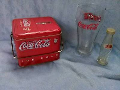Coke A Cola Tin Glass And Pepper Shaker Lot