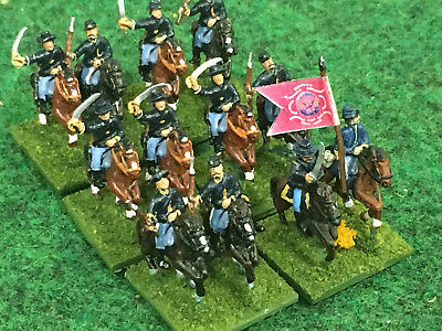 Painted 15mm American Civil War Union Cavalry 12 Figs 6 Std  Fire and Fury