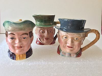3 x small BESWICK TOBY character JUGS~674 mr Cawber~1119 pickwick~1204 mr varden