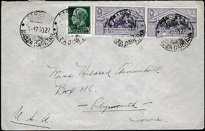 Italy 1930 Virgil Pair of 50 cent on a letter to USA.  Carrara handstamp. SG 294