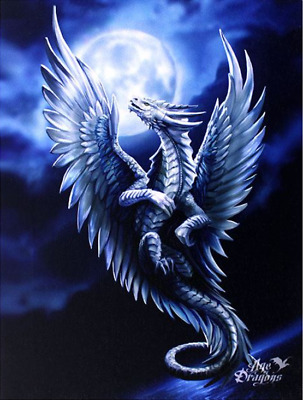 "Silver Dragon Canvas Wall Plaque by Anne Stokes 10"" x 7.5"""