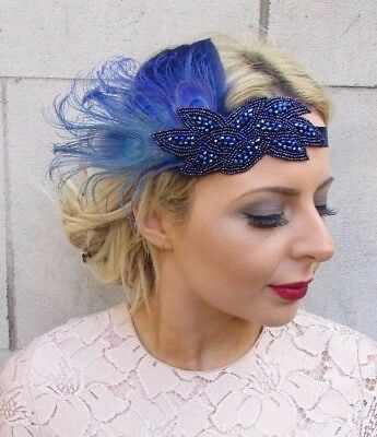 Navy Royal Blue Feather Headpiece 1920s Headband Flapper Great Gatsby Deco 4280