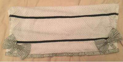 White Black Romany Bling Tea Towel with crystal diamante trim & bows christmas