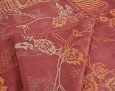 Vintage 100% Pure Silk Cultural Saree Pink Printed Sari Animal Craft Fabric