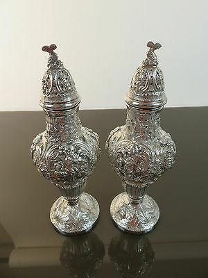 Fine Hand Wrought Sterling Silver Repousse Sugar Casters