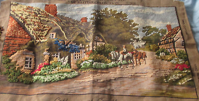 Cottages of Cropthorne Tapestry Canvas, partly done - Village, Horses, Riders
