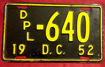 1952 District Of Columbia Diplomat Dpl-460 License Plate