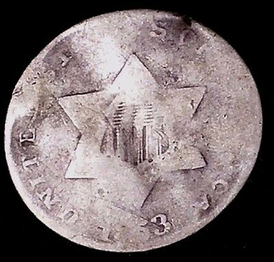 1853 3C Three Cent Silver Piece, llct 75% Silver,  Free Shipping & Handling