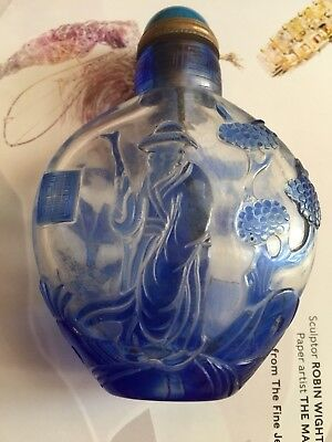 18th C Chinese Antique Overlaid Peking Glass  Snuff Bottle Qianlong Mark