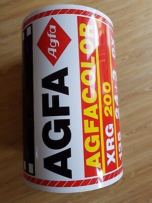 Original Old Vintage AGFA Sign Board Photo Roll shaped
