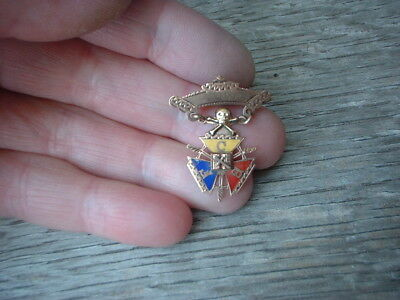 antique  victorian 9 ct or filled  enamel Masonic Jewel Knights of Pythias pin