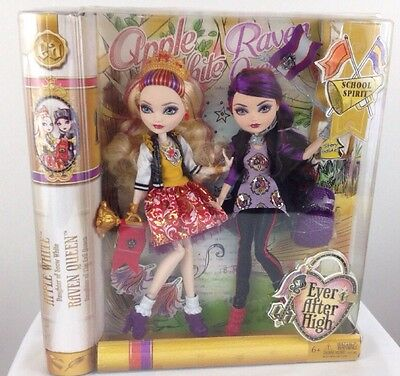 NEW Ever After High SCHOOL SPIRIT Apple White and Raven Queen Doll (2-Pack) BNIB