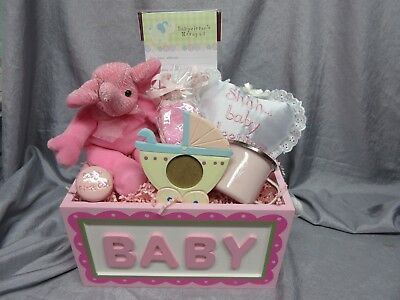 Baby Girl Pink Gift Basket - Teddy Bear,photo Frame,cup, Socks,door Pillow - New
