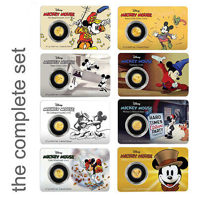 2016/17 Mickey Mouse Through The Ages: The Complete Set 0.5g Proof Gold Coins