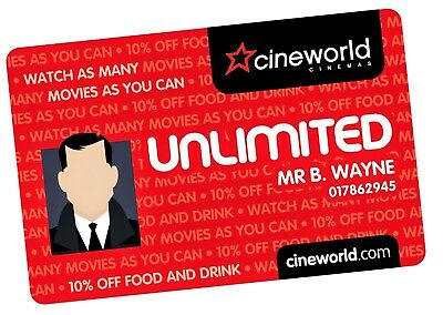 Cineworld Unlimited Card 12 Months + 1 Month Free 13 Months Total Membership
