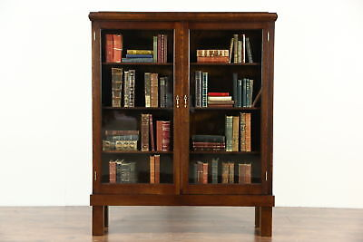 Oak Quarter Sawn 1900 Antique Library Bookcase, Wavy Glass Doors