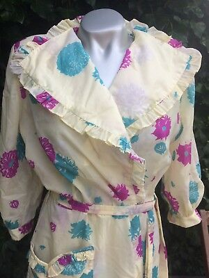 1940's Long Floral Housecoat Dressing Gown 14