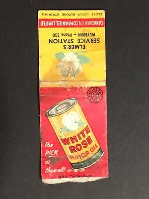 A Vintage MATCHBOOK Cover WHITE ROSE Motor Oil 1940-50's Advertising  Ad