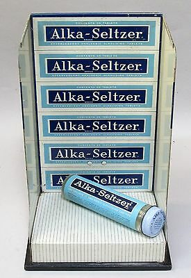 old vintage ALKA-SELTZER countertop store display & attached tape dispenser *