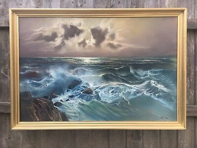 Very Large Vintage Seascape Oil On Canvas In Gold Gilt Frame, Signed