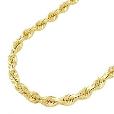 """AUTHENTIC 14K Yellow Gold 16""""-32"""" GENUINE Rope Chain Necklace Men Women 1MM- 5MM"""