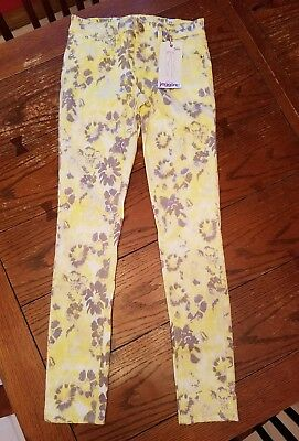 Justice yellow floral simply low jeggings leggings jeans, 12, NWT