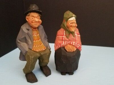 NILS GUNNARSSON Sweden MAN & WOMAN Couple WOOD CARVINGS Signed Carved
