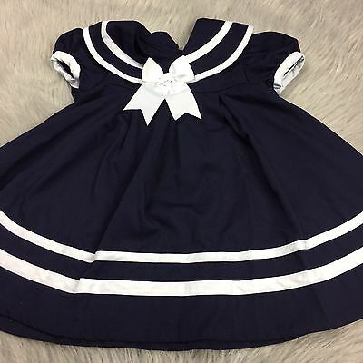 Vintage Toddler Girls Navy Blue White Bow Sailor Dress Costume Shirley Temple