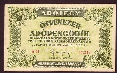 1946 Hungary 50000 Adopengo Old Vintage Paper Money Banknote Rare Antique Bill