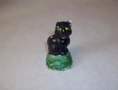 "Vintage Miniature Halloween Chalk Cat on Grass 1 5/8"" Tall Mini"