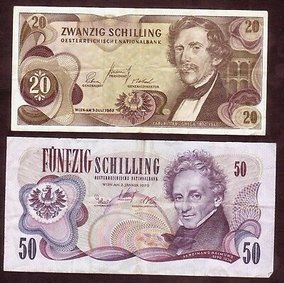 1967 1970 Austria 20 50 Schilling Lot 2 Vintage Paper Money Banknotes Currency
