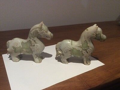 Pair of Vintage Chinese pale green Jade/hardstone carvings of a 'Han Dy Horse'.