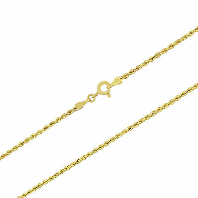 Real 14k Yellow Gold 2mm Light Womens Diamond Cut Rope Chain Link Bracelet  7""