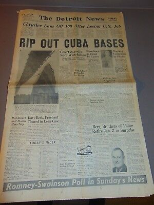 Nov. 2, 1962 Detroit Newspaper: Removal Of Cuban Missile Crisis Bases