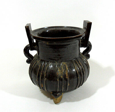 Beautiful Chinese Black Glaze Porcelain Incense Burner