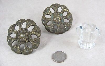 "3 Salvaged Vintage DRAWER PULLS 2 Victorian Brass 2"" Wide; 1 Clear Glass 1 ¼"" wd"