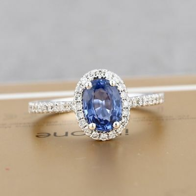 Women NATURAL SAPPHIRE DIAMOND HALO SOLID 14K WHITE GOLD WEDDING GEMSTONE RING