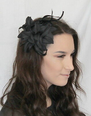 Black Hair Flower Feather Fascinator Ball Elegant Hair clip Slide Brooch Pin