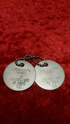 Genuine British Army Issued Military Dog Tags A. Hart