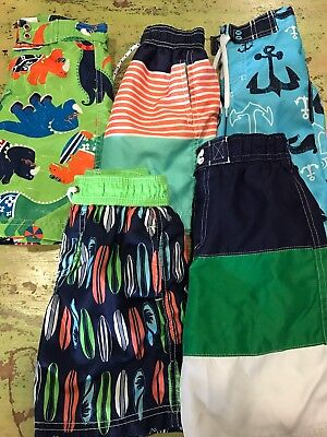 Boys Sz 4T Lot Of Swim Trunks Shorts Hanna Andersson 100 Gymboree Carter's +