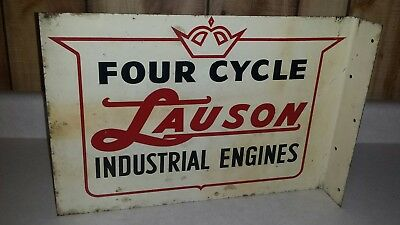 Vintage Lauson Industrial Engines 4 Cycle Motors Double Sided Flange Sign
