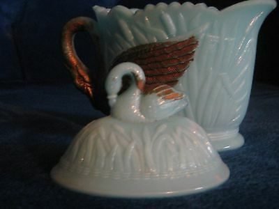 Antique American Blue Opaline Glass Covered dish - Swans