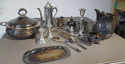 Lot Of Silver/Sterling Silver/Pewter Mixed Items Pitcher Coffee Pot Creamers Etc
