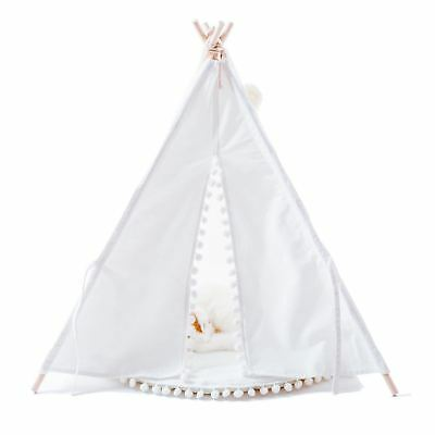 Luxury Pompon Pet Teepee House - 28 Inch White Elegant Cat Dog Puppy Snuggle...