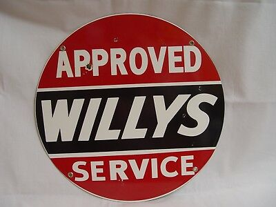 """13.5"""" Round WILLYS Approved Service Porcelain Car Advertising Sign"""