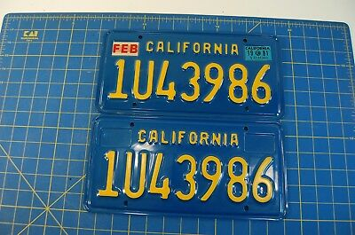 Pair Of California License Plates 1969 1981 Blue Yellow 1U43986