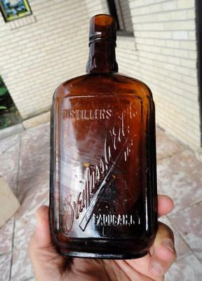 early DREYFUSS WEIL Amber PINT Whiskey Flask PADUCAH, KENTUCKY ky ~late 1800's~