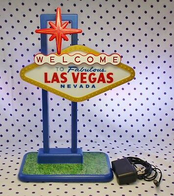 """Welcome To Las Vegas Tabletop 13"""" Sign Light Flashes Casino Game Room Electronic"""
