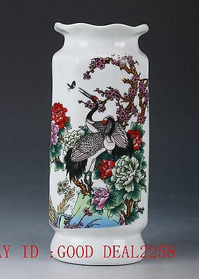 Chinese Porcelain Hand-painted Plum Flower&Cranes Vase W Qing Qianlong Mark