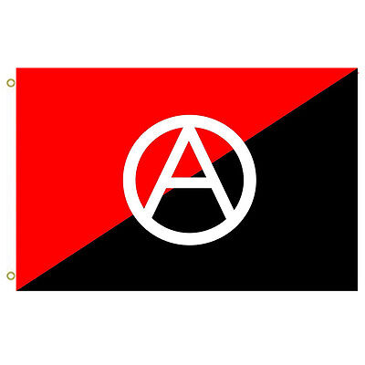 Anarchist flag with A symbol Flag A red and black used as anarchy symbol Flag